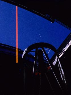 [Shane Telescope laser as seen from inside dome]